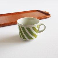 ARABIA バイアス柄 ステンシル コーヒーカップ/グリーン