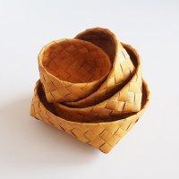 白樺の丸カゴ/パンかご 4個セット