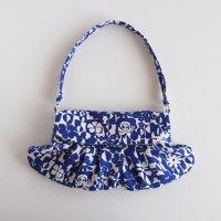 ハンドメイド 北欧リネンのセカンドバッグ/青いお花