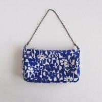 ハンドメイド 北欧リネンのチェーンバッグ/青いお花