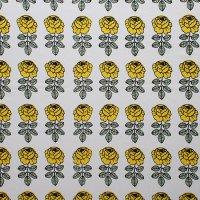 marimekko/マリメッコ ファブリック Vihkiruusu 白×イエロー 71×59/切売り