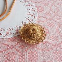 白樺の編みブローチ5.5cm
