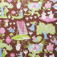 Moomin/ムーミン ヴィンテージファブリック/ブラウン 59×75/切売り