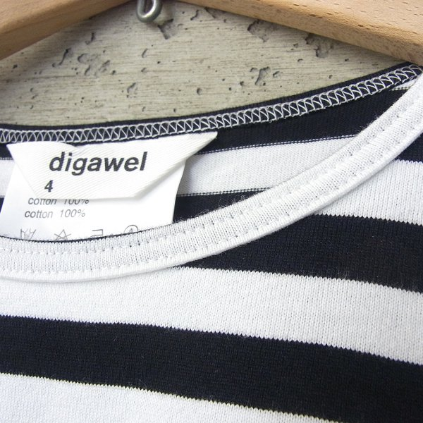 DIGAWEL | BORDER LS T-shirt(WHITE x BLACK)