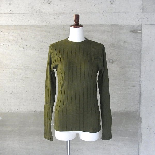 YOUNG & OLSEN The DRYGOODS STORE | BROAD RIB CREW NECK LS(OLIVE)
