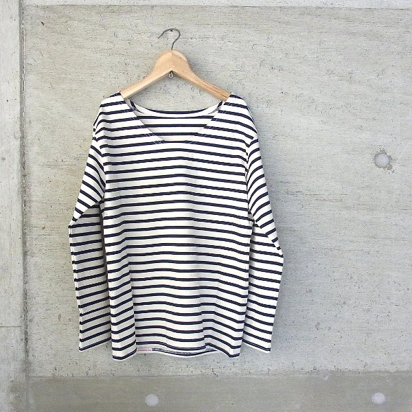 YOUNG & OLSEN The DRYGOODS STORE | VINTAGE STRIPE REAR END TEE(WHITE x NAVY)