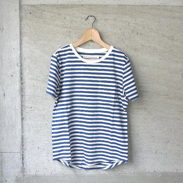 CURLY | BRUSH BORDER SS TEE(ECRU x NAVY)