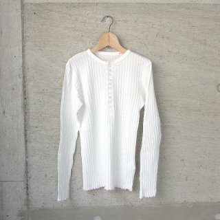 YOUNG & OLSEN The DRYGOODS STORE | JAQUARD RIB HENLEY NECK(WHITE)