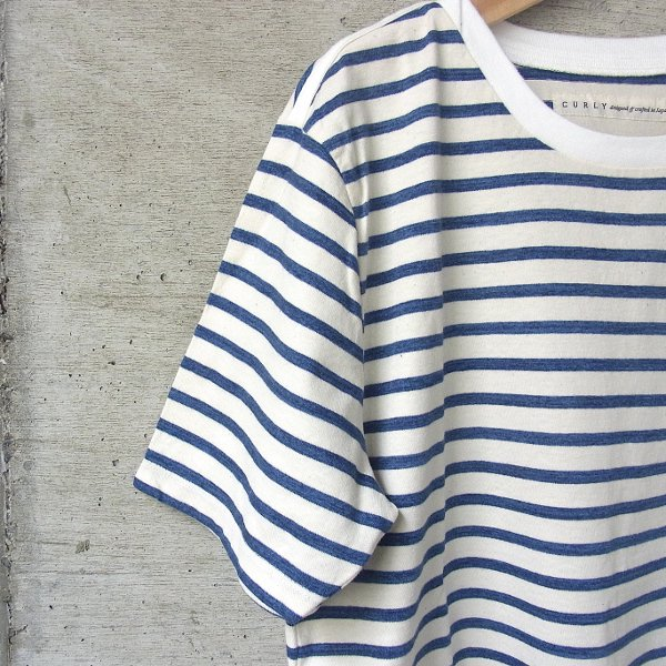 20%OFF | CURLY | BRUSH BORDER SS TEE(WHITE x BLUE)