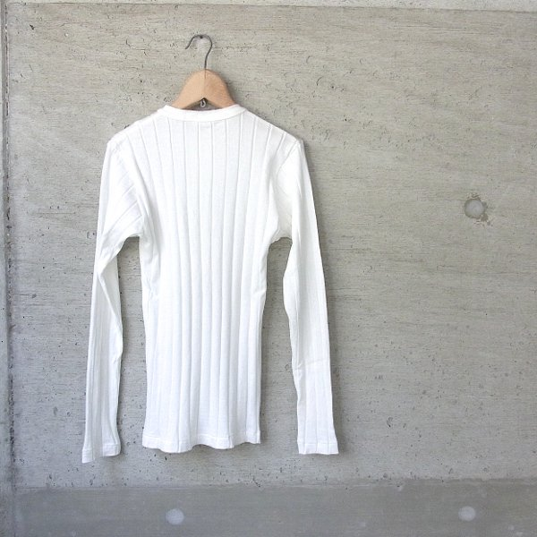 YOUNG & OLSEN The DRYGOODS STORE | BROAD RIB HENLEY NECK LS(WHITE)