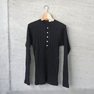 YOUNG & OLSEN The DRYGOODS STORE | BROAD RIB HENLEY NECK LS(BLACK)