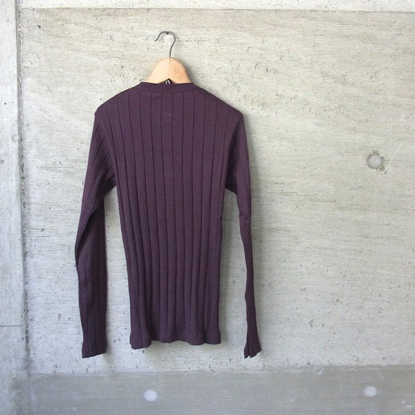 YOUNG & OLSEN The DRYGOODS STORE | BROAD RIB HENLEY NECK LS(PURPLE)