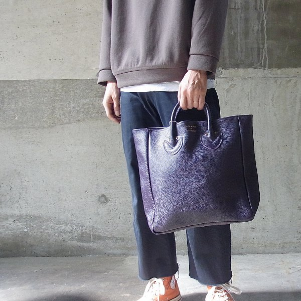 YOUNG & OLSEN The DRYGOODS STORE   EMBOSSED LEATHER TOTE M(PURPLE)