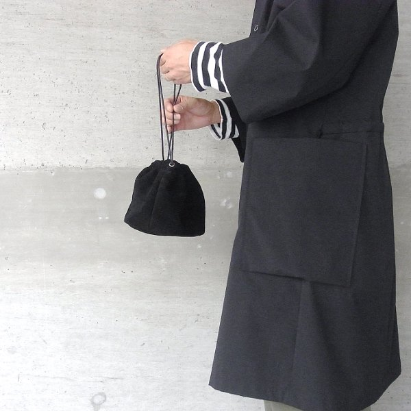 KEESE | DRAWSTRING POUCH suede(ALL BLACK)