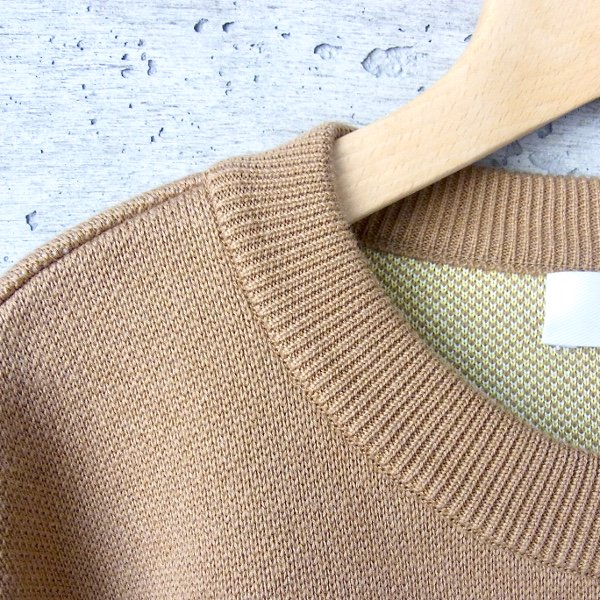 DIGAWEL | BORDER KNIT&SEWN SWEATER(CAMEL)