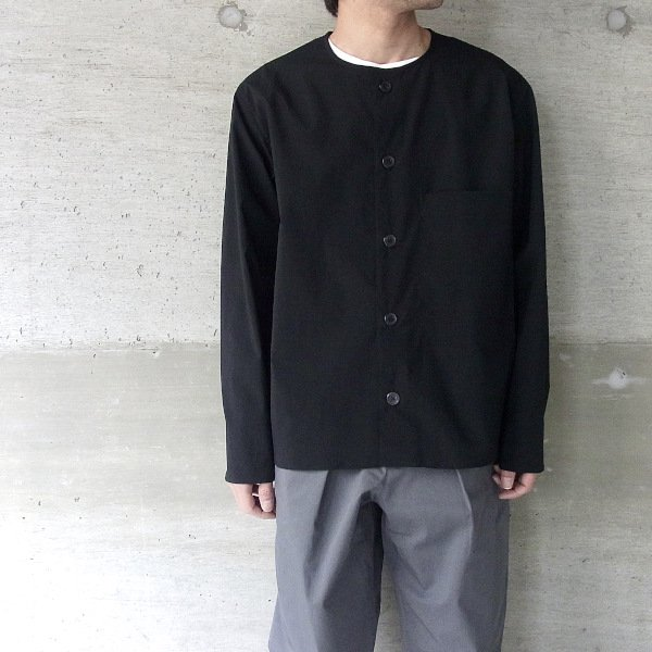 DIGAWEL | COLLARLESS SHIRT(BLACK)