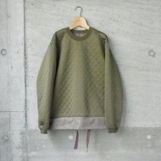CURLY | SWITCHING QUILT SWEAT(OLIVE)