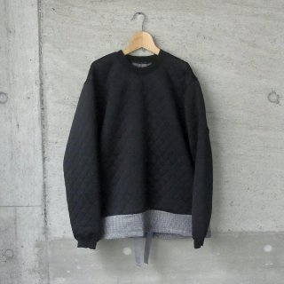 CURLY | SWITCHING QUILT SWEAT(BLACK)