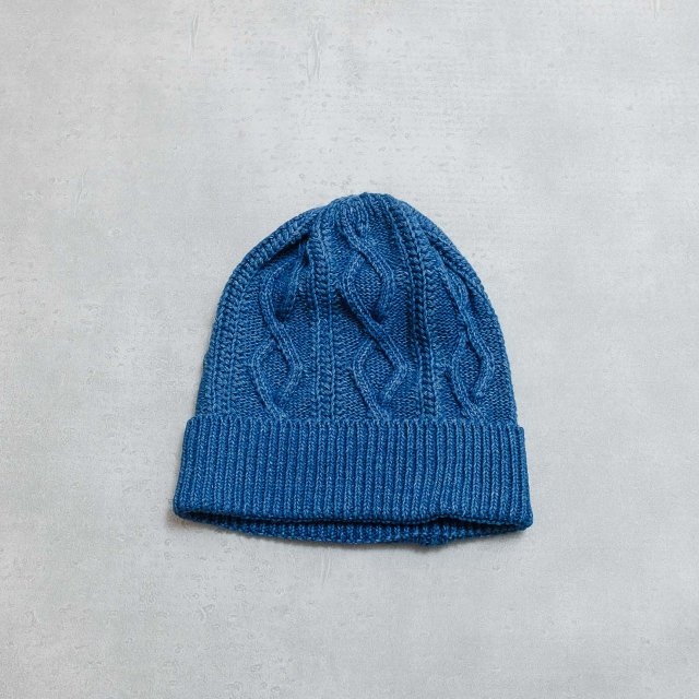 ANONYMOUSISM <h3>Indigo Heavy Cable Knit Cap/インディゴニットキャップ