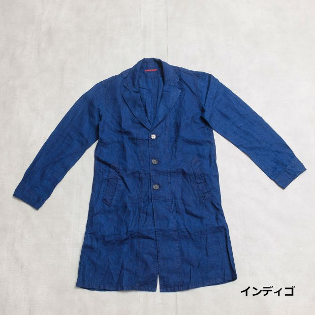 GAIJIN MADE <h3>Men's Indigo Linen Shop Coat/ショップコート