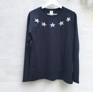 HOSU ホス EMBROIDERED PRINT LONG T-SHIRT STAR NAVY