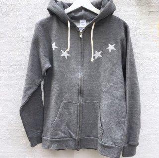 HOSU ホス STAR手刺繍プリント ZIP HOODY GRAY