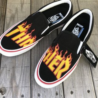 <img class='new_mark_img1' src='https://img.shop-pro.jp/img/new/icons50.gif' style='border:none;display:inline;margin:0px;padding:0px;width:auto;' />VANS × THRASHER ブァンズ バンズ SLIPON-PRO BLACK FLAME LOGO