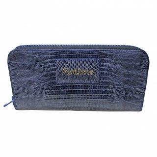 d0268c16cab4 ラウンドファスナー長財布(トカゲ革)ネイビーブルー/Re-Bone classics(リボーンクラシックス)Round fastener wallet
