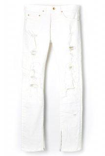 APPLE HIGH-STREACH WHITE DENIME ZIP SLIM PANTS