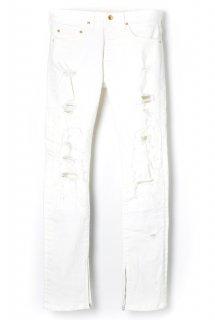 APPLE HIGH-STREACH WHITE DENIME ZIP SLIM PANTS