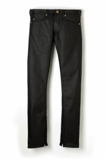 ROSE EMBROID STREACH COATING DENIME ZIP SLIM PANTS