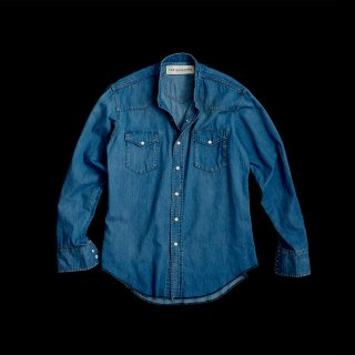 DENIM  BAND COLLAR SHIRTS