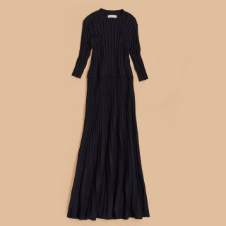 RIB PLEATED DRESS