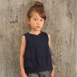 FUSEGU/親子ペアTシャツ・ピンストライプチュール付き