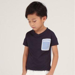 FUSEGU/Tシャツ・Vネックドルマンストライプ