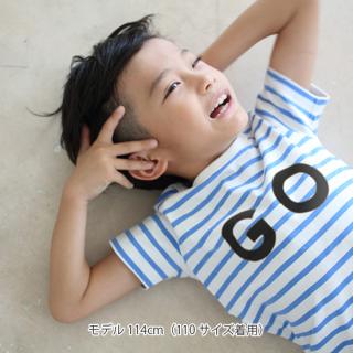 (GOプリント)ボーダー半袖Tシャツ(ユニセックス)
