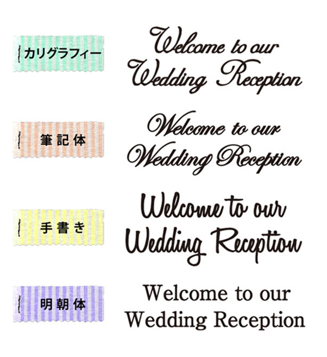 切り文字/Welcome to our Wedding Reception書体