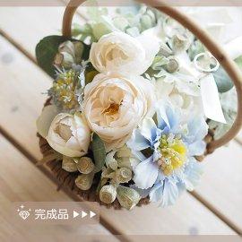 完成品●スカビオサの花かごリングピロー