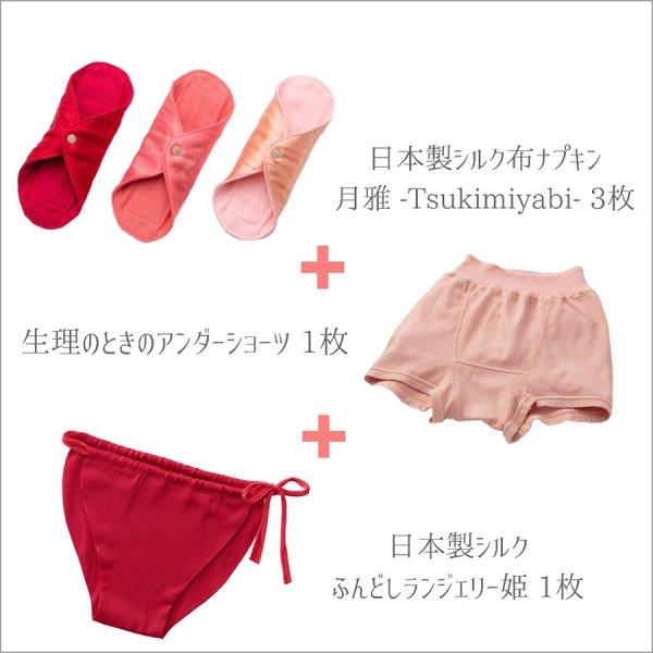生理のときのはじめてさんセット(姫 日本製シルク)◇5点セット