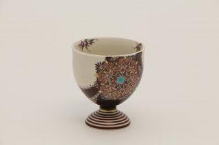 葡萄茶彩描 馬上杯丸紋(茶塗)