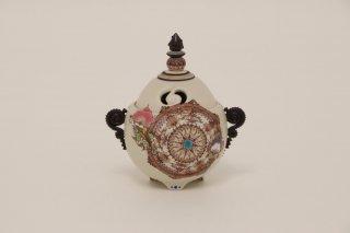 葡萄茶彩描 香炉 「floral」