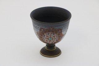 葡萄茶彩描 馬上杯丸紋(黒) �