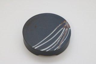葡萄茶彩描菓子器 丸紋(黒)