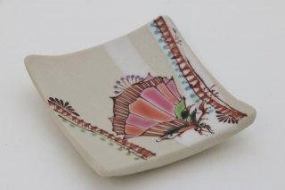 葡萄茶彩描 箸置 花紋 �