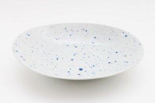 吹墨楕円皿