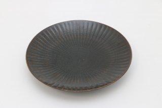 しのぎ 6寸皿(黒)