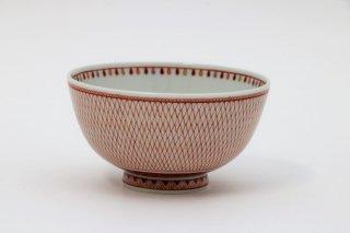 茶碗 赤絵とり網紋