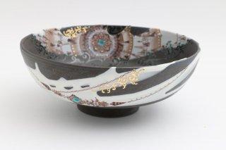 葡萄茶彩描 菓子鉢 丸紋