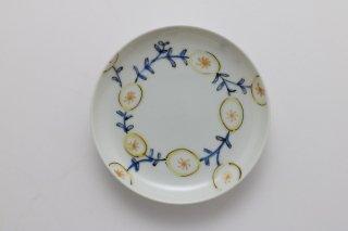 3寸丸皿 黄い花