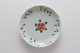 輪花3寸丸皿 赤い花